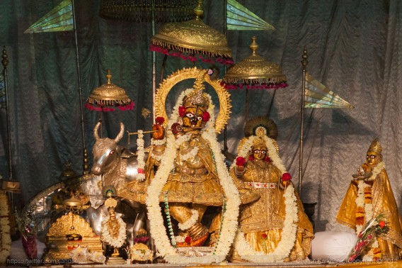 Lord Krishna dressed in expensive highly decorated bejewelled costumes on the ocassion of Diwali at the Govind Dev ji Temple in Jaipur, Rajasthan.