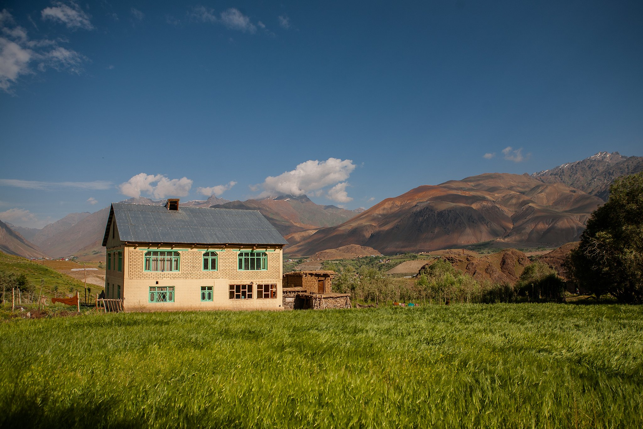 A beautiful house drenched in golden sunlight surrounded by barley fields and the barren Greater Himalayas in Dras.