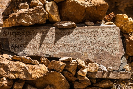 Rocks carved with ancient scriptures in Tibetan script on the trek to teh remote and isolated Phuktal or Phugtal monastery in the Zanskar valley, a remote adventure destination in Jammu and Kashmir in north India