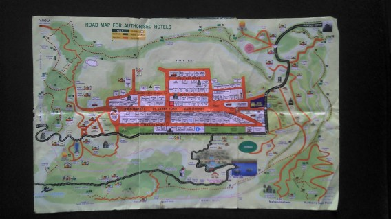 Map of the forest trails in Mahabaleshwar, the most famous hill station in Maharashtra, India.