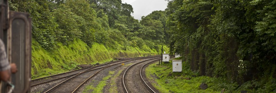 The train route through a thick forest to Dudhsagar waterfalls on the Goa Karnataka border in India.